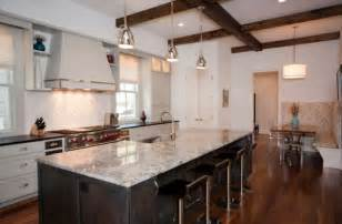 Kitchen Island Countertop Ideas Stylish Metal Pendant Lights Above Kitchen Island With