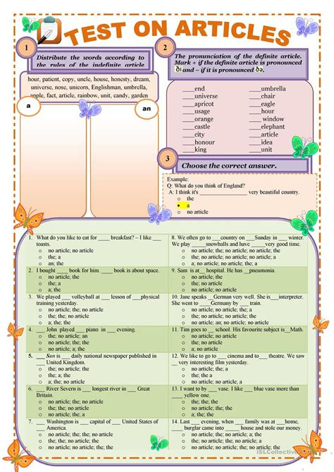 grammar exercise the definite and indefinite articles test on articles definite and indefinite editable and