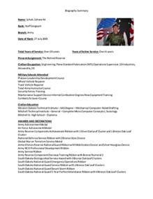 biography summary template biographical summary