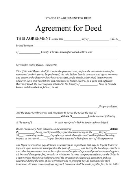 deed of agreement template contract for deed form 5 free templates in pdf word