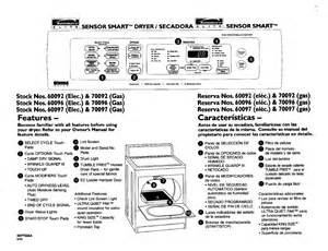 Kenmore Clothes Dryer Repair Manual Kenmore Dryer Model 110 64962300 Manual