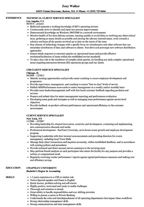 client service specialist resume sles velvet