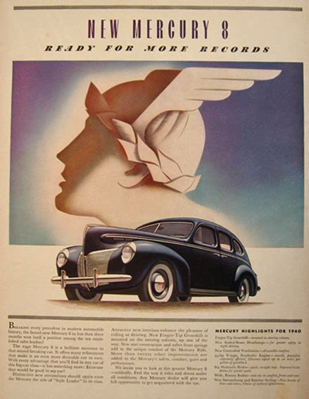 deco car ads 1940 mercury 8 deco car ad vintage car ads other