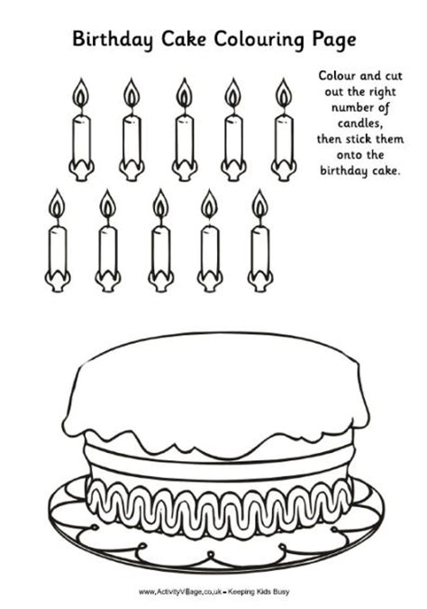 birthday cake colouring activity