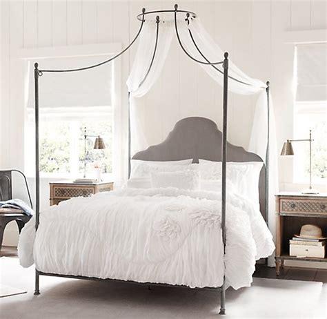 Velve 180x200 allegra iron canopy bed fog vintage velvet