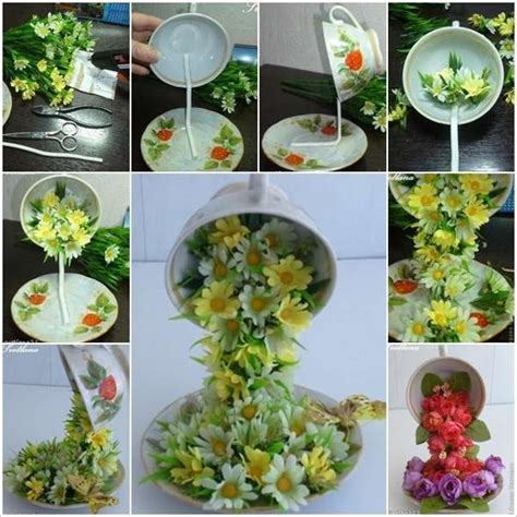 diy beautiful flying flower arrangements these flying cups that pour flowers are just amazing