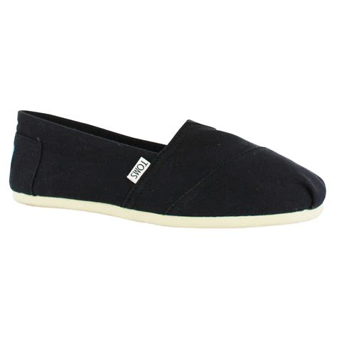 toms 2a07 canvas mens slip ons shoes black ebay
