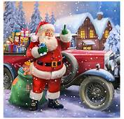 Santa Claus With Classic Car Painting By Patrick Hoenderkamp