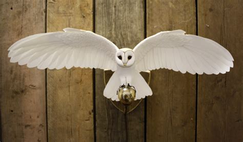 Handmade Paper Sculpture - handmade paper and wood owl wall light by zackmclaughlin