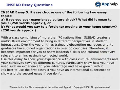 Insead Mba Essays 2016 by Insead Executive Mba Essay Questions Insead Global
