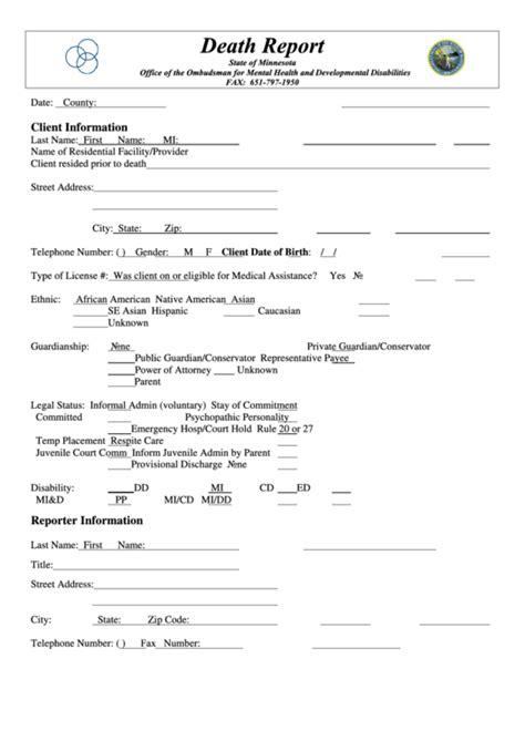 state of minnesota report form printable pdf