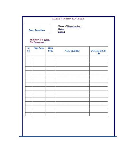 Silent Auction Bid Sheet Template Printable by 40 Silent Auction Bid Sheet Templates Word Excel