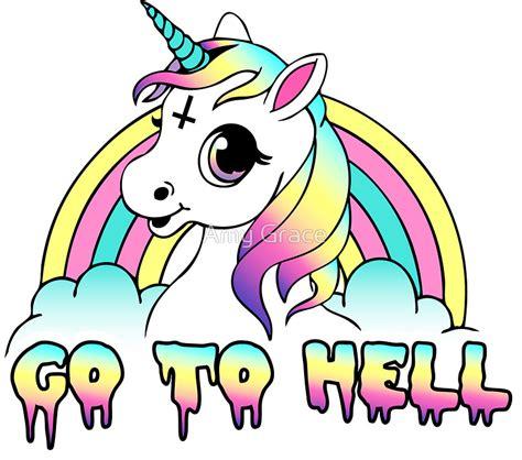imagenes de unicornios morados quot quot go to hell quot pastel goth unicorn quot stickers by amy grace