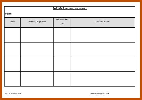 target and assessment sheets elsa support