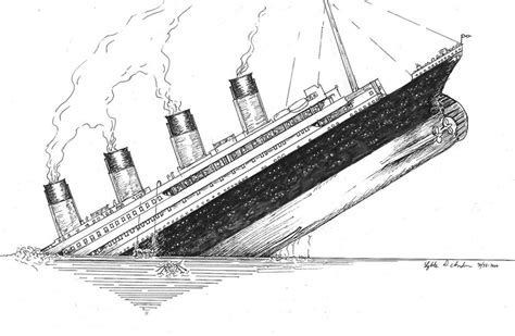 Titanic Sinking Drawing Sketch Coloring Page sketch template
