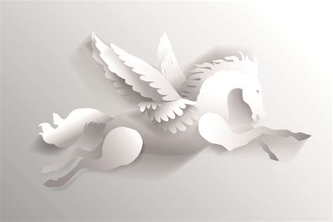 3d white paper cut horse vector free vector in