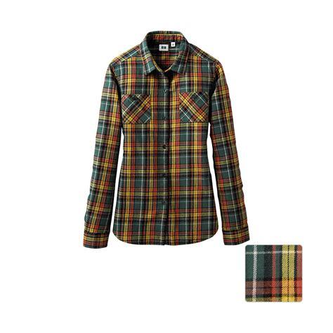 Flannel Uniqlo 11 uniqlo flannel check pocket sleeve shirt e in yellow lyst