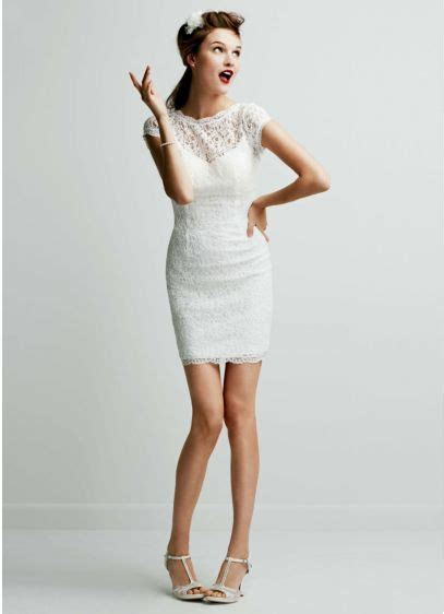 casual wedding dresses at affordable prices db studio by short lace cap sleeve dress with exposed zipper david s