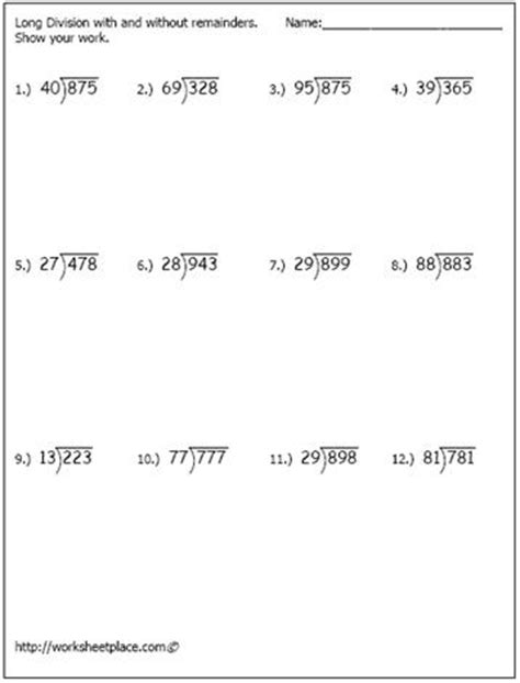 printable worksheets on long division long division worksheet 1 homeschool pinterest long