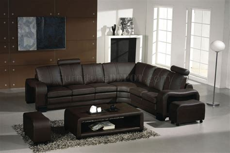 espresso sectional 3330 espresso leather modern sectional sofa w coffee table