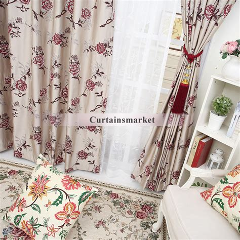 rose pattern curtains floral country rose patterned curtains of blended materials