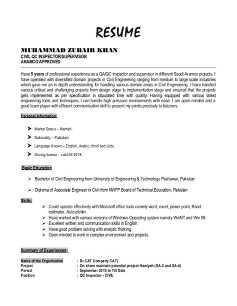 Construction Qc Manager Resume by Resume Zubair Khan Civil Qc Inspector