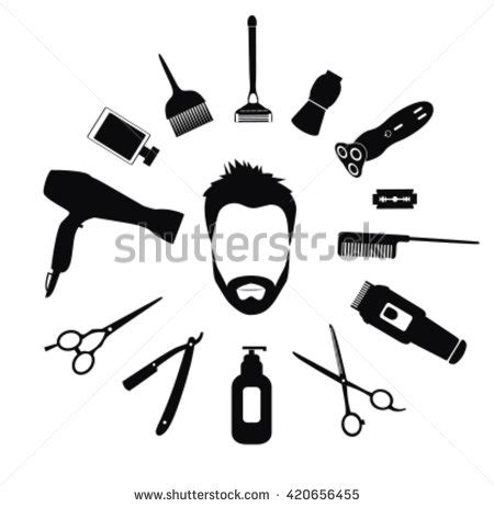 Hairstyle Tools Designs For Silhouette by Silhouette Barber Tools Haircut Icons Stock Vector