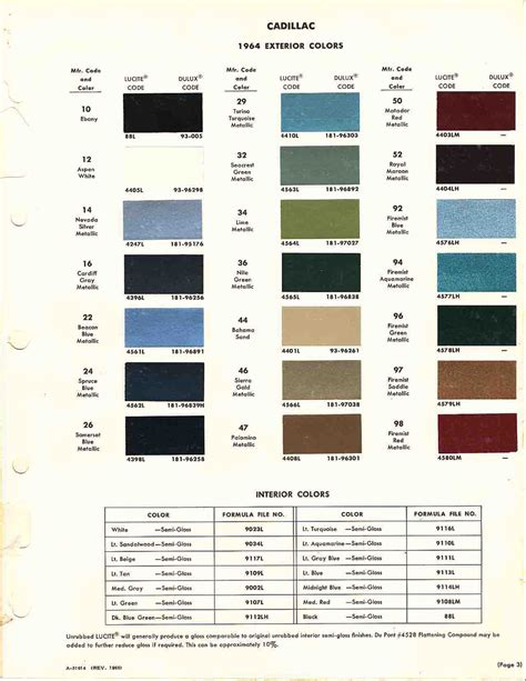 1970 cadillac paint colors