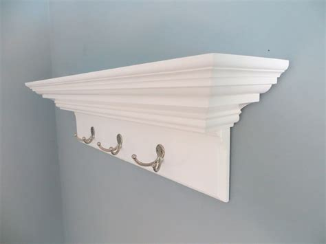 White Shelf With Hooks by White Shelf With Hooks Decofurnish