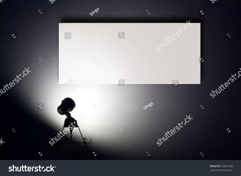 white wall with board and lights stock photo small spotlight lighting blank white advertisement board