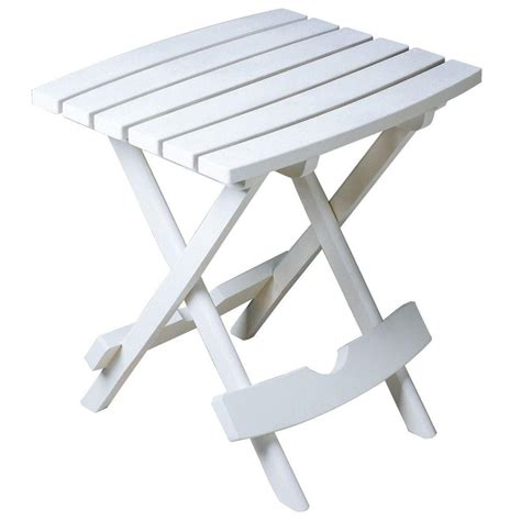 White Patio Tables Manufacturing Quik Fold White Patio Side Table 8500 48 3700 The Home Depot