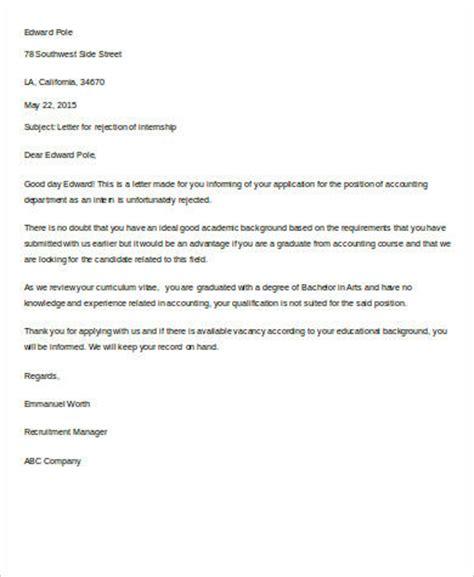 Rejection Letter Internship 8 Rejection Letter Sle Free Sle Exle Format