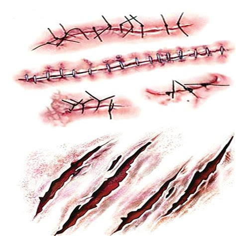 5x halloween blade blood scar tatoo 3d sticker waterproof