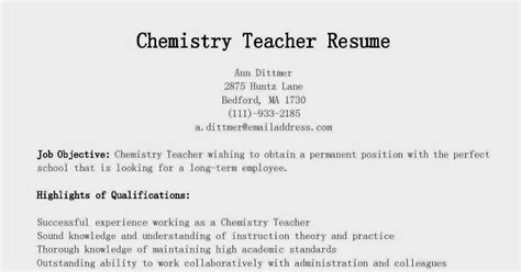Resume Sles For Chemistry Teachers Resume Sles Chemistry Resume Sle