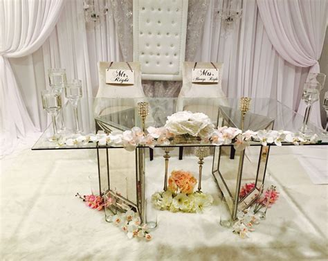 Wedding backdrop & glass mirrored sweetheart table