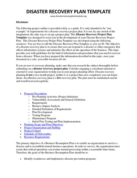 disaster recovery plan template best resumes