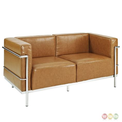 modern leather loveseat charles grande modern leather loveseat with steel frame tan