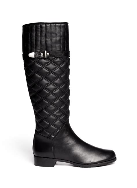 Black Quilted Boots by Stuart Weitzman Copilot Quilted Leather Boots In Black Lyst