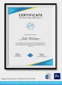 certificate of course completion template physical fitness certificate 5 word psd format