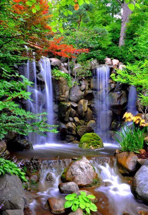 ver imagenes jardines japoneses cuadro en lienzo con bastidor cascada de agua en jardines