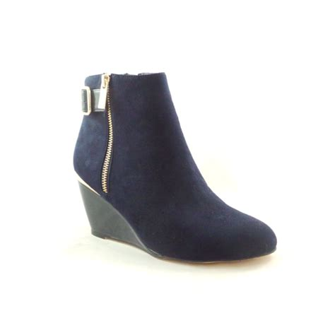 lotus cassia 40379 navy microfibre wedge ankle boot