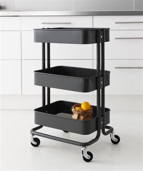 ikea storage cart ikea raskog kitchen garden bath garage organize rolling mobile storage cart gray ebay