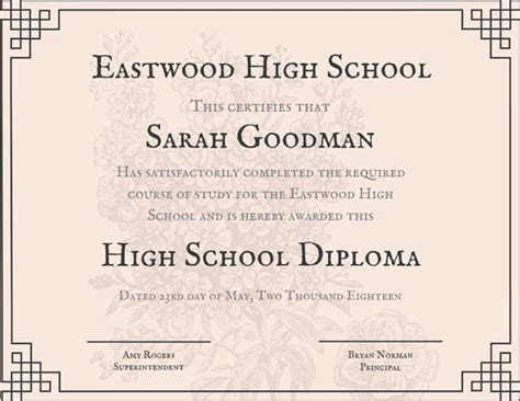 pin high school diploma certificate template on pinterest