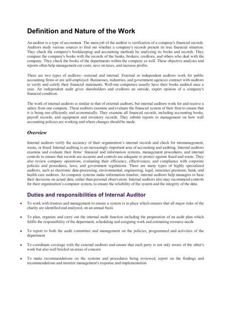 Auditors Duties And Responsibilities by Duties And Responsibilities Of Auditor