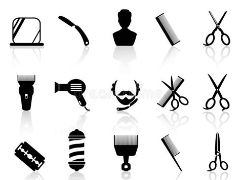 twist hairstyle tools clipart icons barber tools and haircut icons set royalty free stock