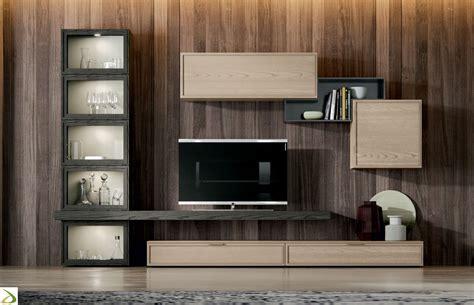 mobile moderno soggiorno soggiorno in legno con vetrina caramel arredo design