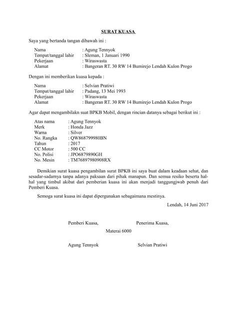 Contoh Surat Kuasa Balik Nama Motor - Kumpulan Contoh