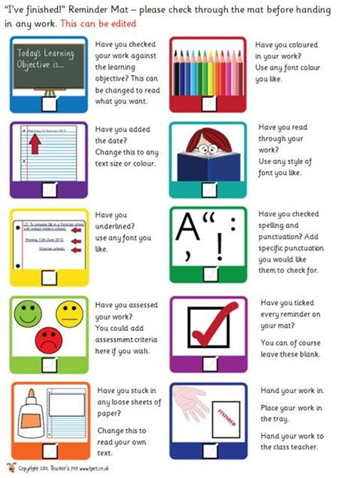new year teaching resources ks2 editiable early finishers checklist classroom set up
