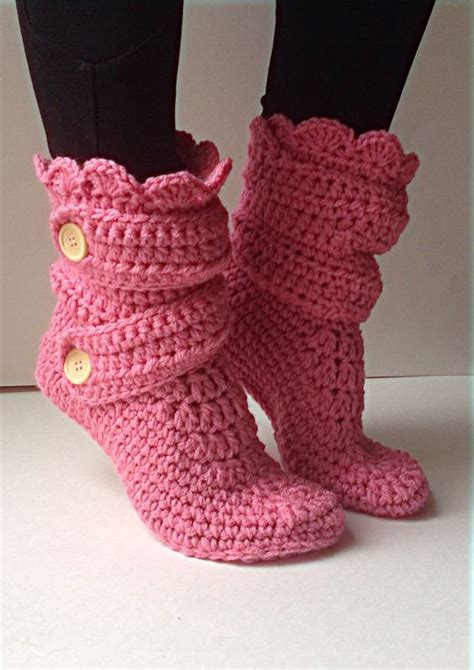 house slipper booties pink slippers crochet house and slippers crochet on pinterest