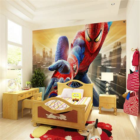 marvel bedroom decor custom marvel hero wall mural spiderman kids boys children